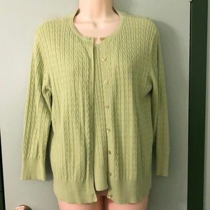 Green Cable Knit Sweater Set Cardigan & Tank